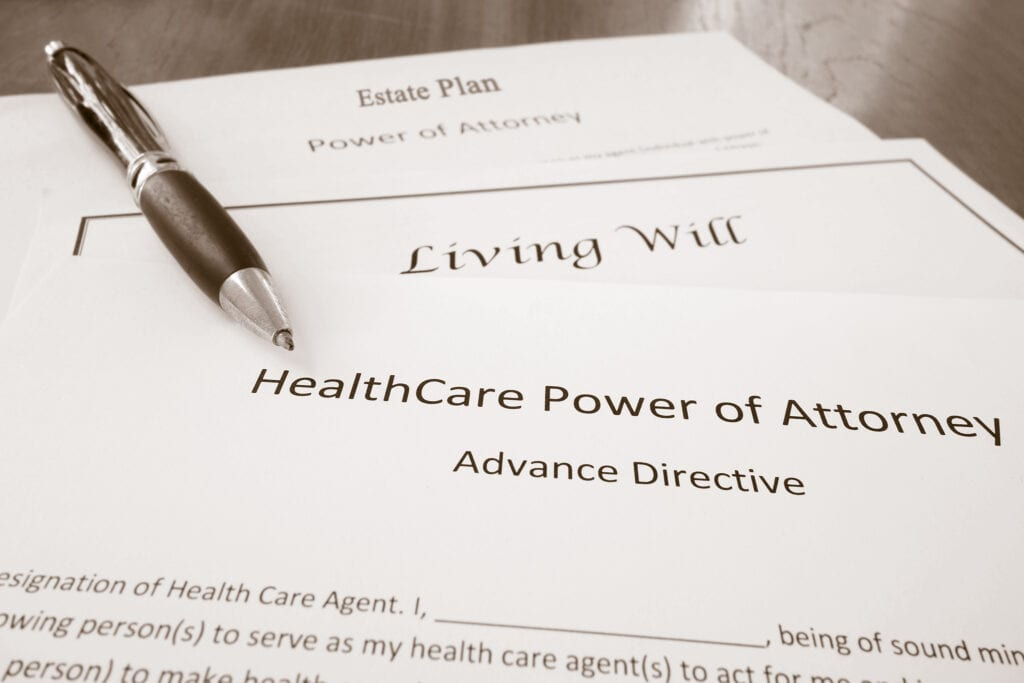 Healthcare Power of Attorney, Living Will document, and Estate Plan